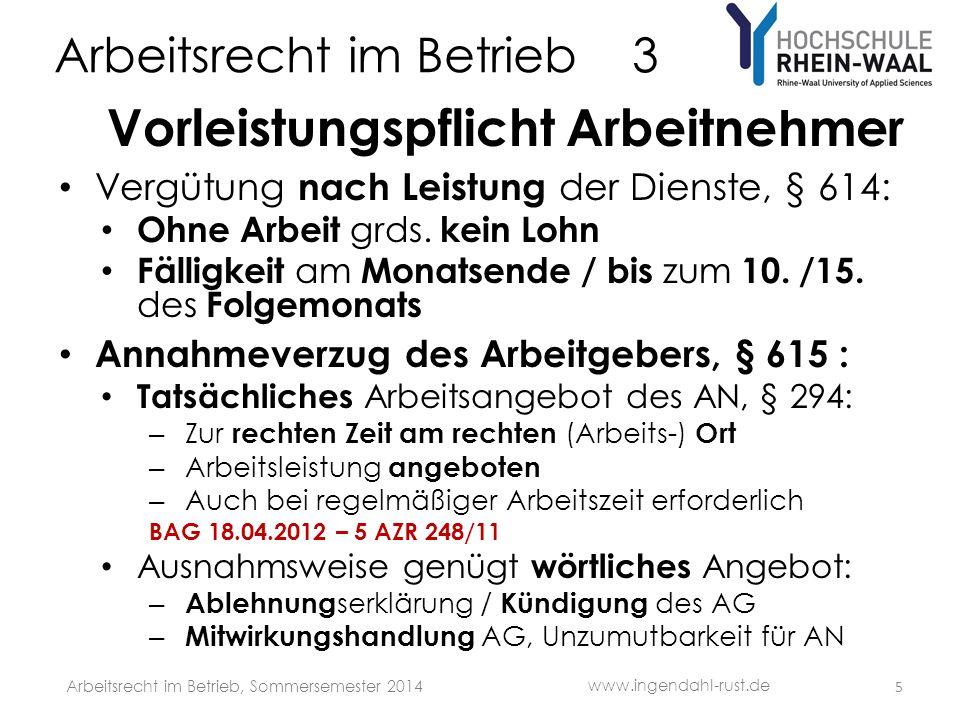 Arbeitsrecht im Betrieb 3 G Grundsatz Ohne Arbeit kein Lohn Ausnahmen : BGB – Annahmeverzug des Arbeitgebers§§ 293, 295, 615 – Kündigung, a.o.