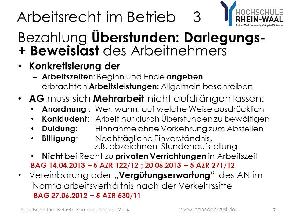 Arbeitsrecht im Betrieb 3 S Siemens § 433 BenQ Arbeitsvertrag Widerspruchsrecht Arbeitnehmer 28 www.ingendahl-rust.de Arbeitsrecht im Betrieb, Sommersemester 2014