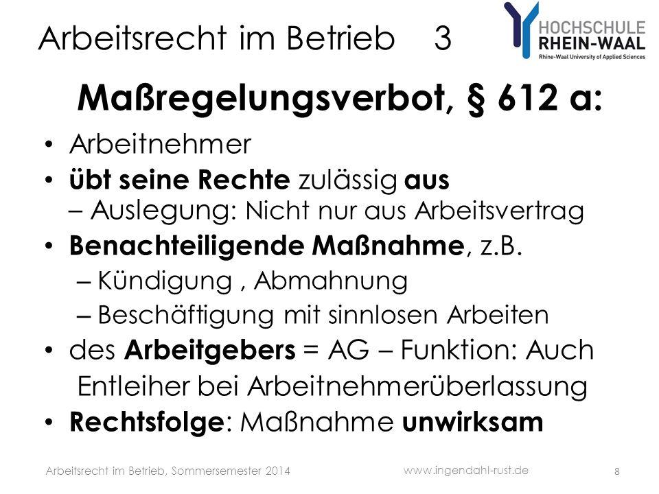 Arbeitsrecht im Betrieb 3 G Betriebsübergang, § 613 a BGB Durch Rechtsgeschäft : Verkauf, Erbgang Übergang von Betriebsmitteln: Produktionsbetrieb: Sächliche Betriebsmittel Handel + Dienstleistung = Betriebsmittelarm: Übernahme der identitätsprägenden Sachkunde Nicht bloße Funktions- Nachfolge Übernahme und wesentliche Beibehaltung des Wertschöpfungszusammenhang s: Arbeitnehmer Kunden – + Lieferantenbeziehungen Telefon- Nummer, e-mail-Adresse Betriebliche Tätigkeiten: Ähnlich + nicht unterbrochen www.ingendahl-rust.de Arbeitsrecht im Betrieb, Sommersemester 2014 9