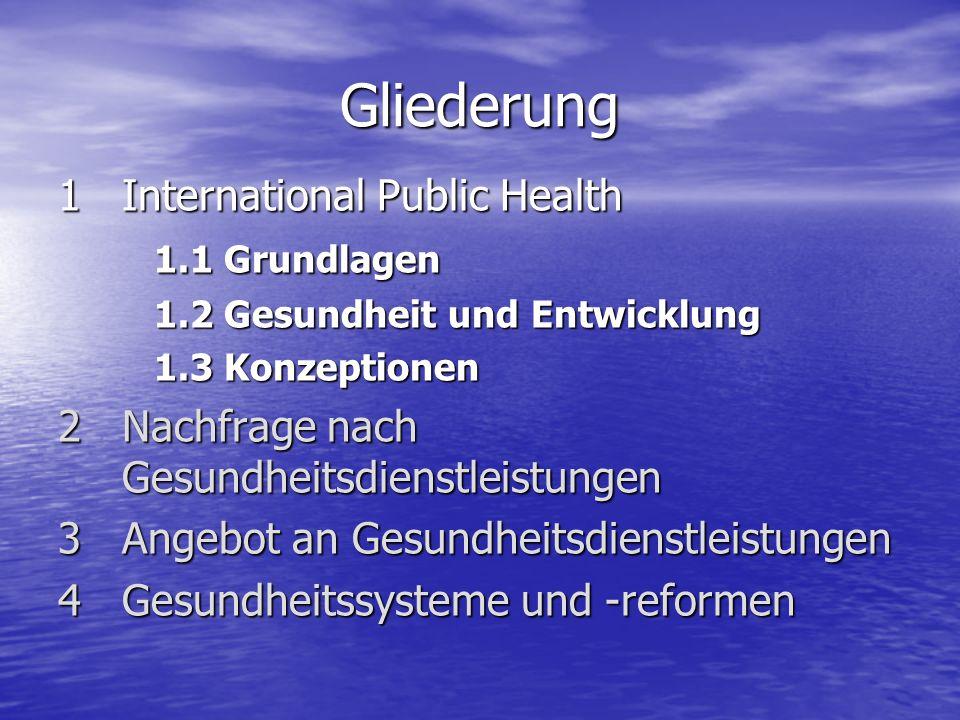 1 International Public Health 1.1 Grundlagen Siehe BUCH.