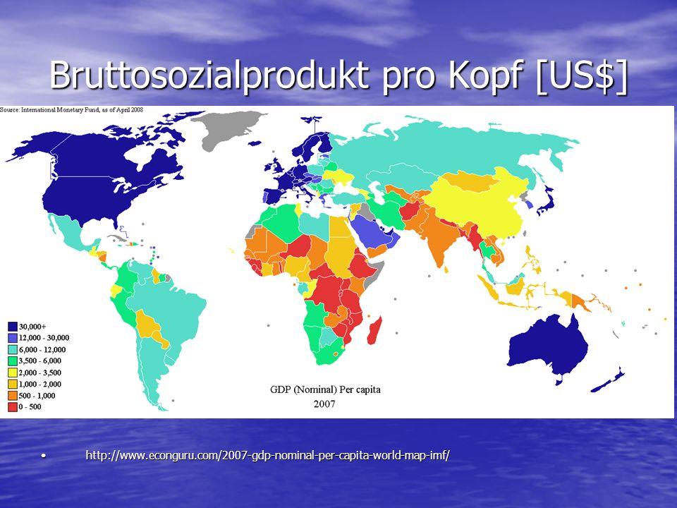 Bruttosozialprodukt pro Kopf [US$] http://www.econguru.com/2007-gdp-nominal-per-capita-world-map-imf/http://www.econguru.com/2007-gdp-nominal-per-capi