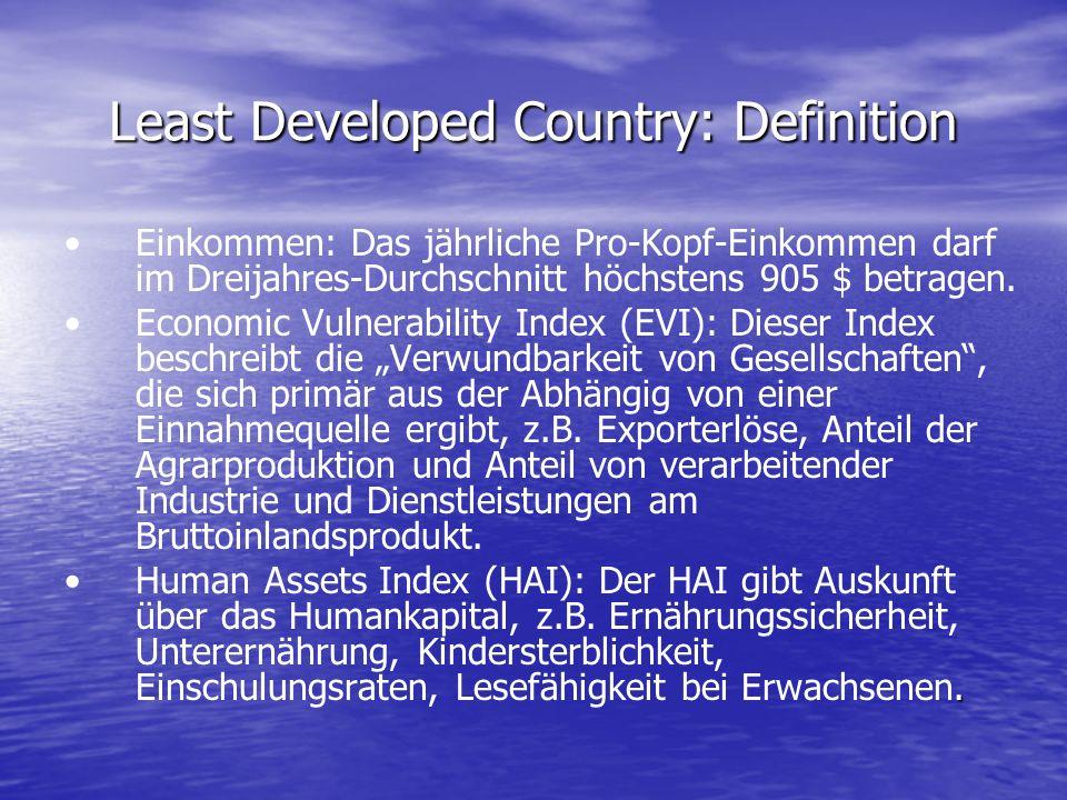 Least Developed Country: Definition Einkommen: Das jährliche Pro-Kopf-Einkommen darf im Dreijahres-Durchschnitt höchstens 905 $ betragen. Economic Vul