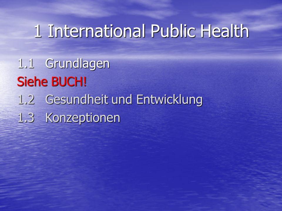 1 International Public Health 1.1 Grundlagen Siehe BUCH! 1.2 Gesundheit und Entwicklung 1.3Konzeptionen