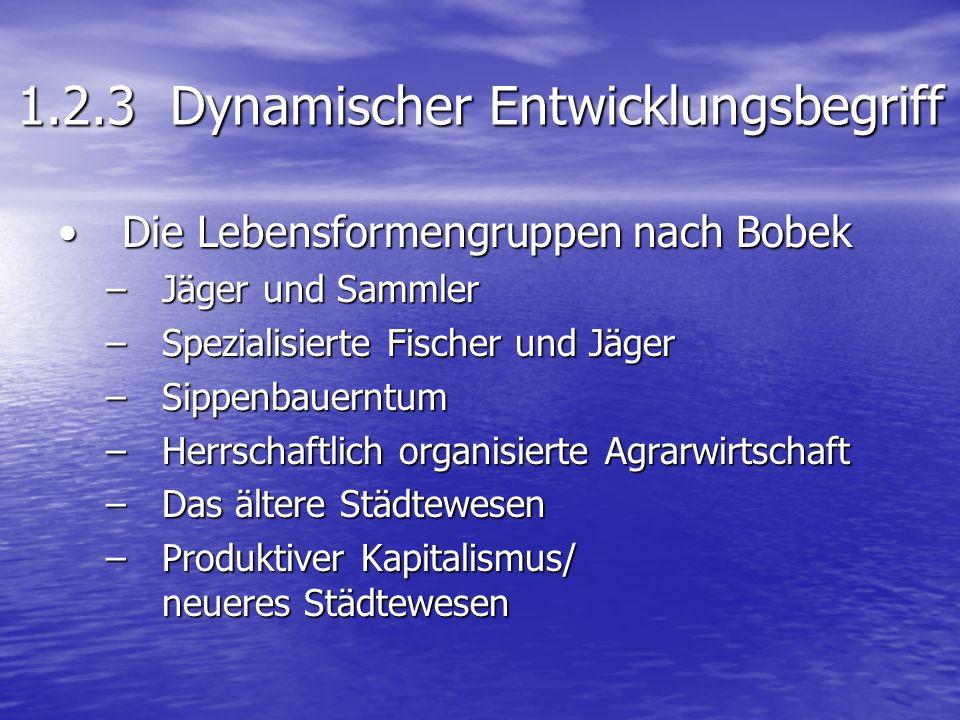 1.2.3 Dynamischer Entwicklungsbegriff Die Lebensformengruppen nach BobekDie Lebensformengruppen nach Bobek –Jäger und Sammler –Spezialisierte Fischer