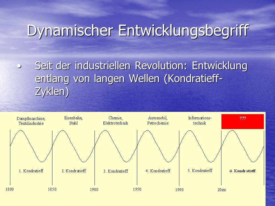 Dynamischer Entwicklungsbegriff Seit der industriellen Revolution: Entwicklung entlang von langen Wellen (Kondratieff- Zyklen)Seit der industriellen R