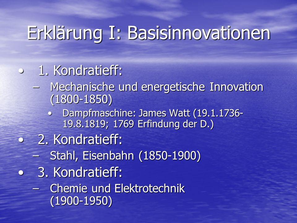 Erklärung I: Basisinnovationen 1. Kondratieff:1. Kondratieff: –Mechanische und energetische Innovation (1800-1850) Dampfmaschine: James Watt (19.1.173