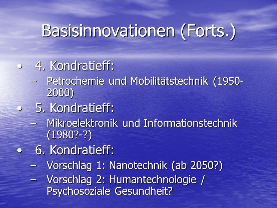 Basisinnovationen (Forts.) 4. Kondratieff:4. Kondratieff: –Petrochemie und Mobilitätstechnik (1950- 2000) 5. Kondratieff:5. Kondratieff: –Mikroelektro