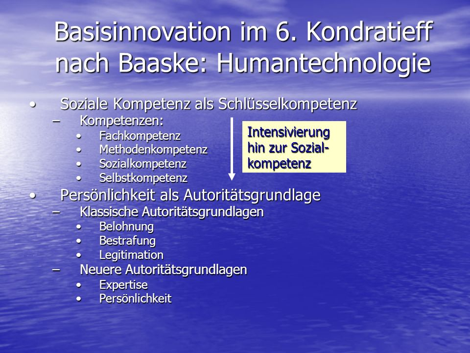 Basisinnovation im 6. Kondratieff nach Baaske: Humantechnologie Soziale Kompetenz als SchlüsselkompetenzSoziale Kompetenz als Schlüsselkompetenz –Komp