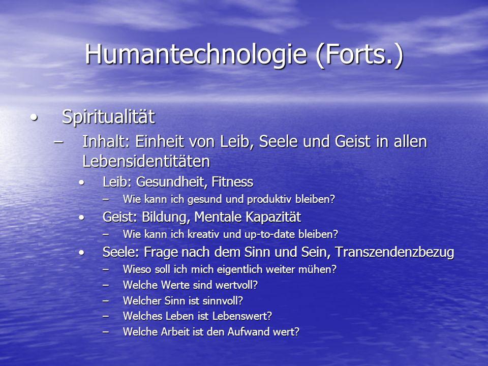 Humantechnologie (Forts.) SpiritualitätSpiritualität –Inhalt: Einheit von Leib, Seele und Geist in allen Lebensidentitäten Leib: Gesundheit, FitnessLe