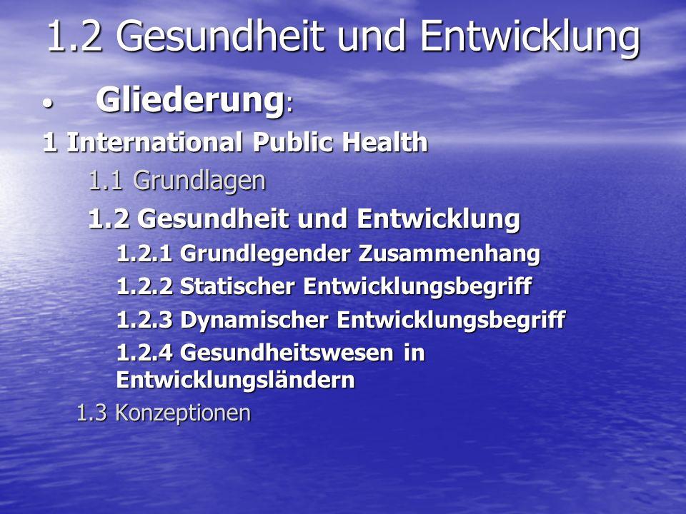 1.2.1 Grundlegender Zusammenhang These: Gesundheit und Entwicklungsstand sind korreliertThese: Gesundheit und Entwicklungsstand sind korreliert Vorgehen:Vorgehen: –Theoretische Konzeption –Realität für Europa –Realität für Entwicklungsländer: 1.2.2-1.2.4
