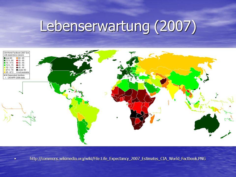 Lebenserwartung (2007) http://commons.wikimedia.org/wiki/File:Life_Expectancy_2007_Estimates_CIA_World_Factbook.PNGhttp://commons.wikimedia.org/wiki/F