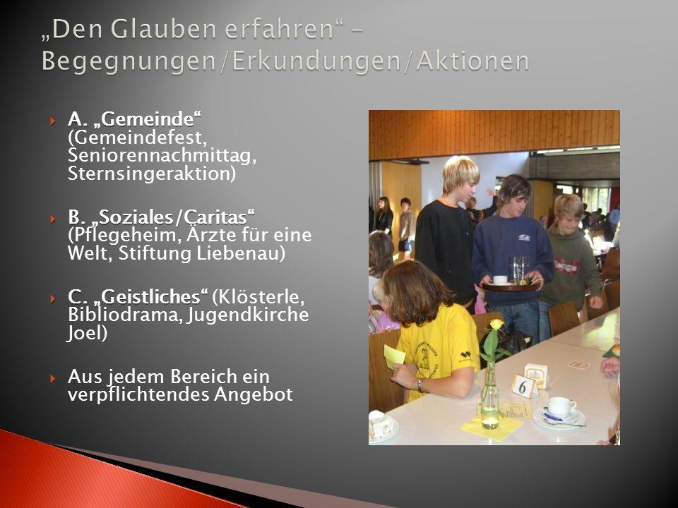 A. Gemeinde A. Gemeinde (Gemeindefest, Seniorennachmittag, Sternsingeraktion) B. Soziales/Caritas B. Soziales/Caritas (Pflegeheim, Ärzte für eine Welt