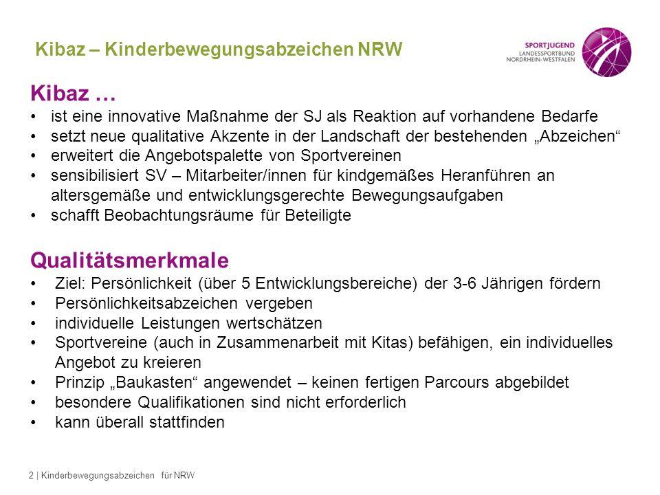 2 | Kinderbewegungsabzeichen für NRW Kibaz – Kinderbewegungsabzeichen NRW Kibaz … ist eine innovative Maßnahme der SJ als Reaktion auf vorhandene Beda