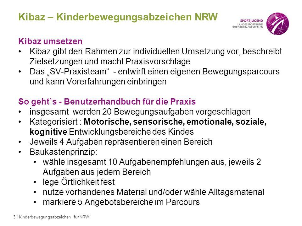 3 | Kinderbewegungsabzeichen für NRW Kibaz – Kinderbewegungsabzeichen NRW Kibaz umsetzen Kibaz gibt den Rahmen zur individuellen Umsetzung vor, beschr
