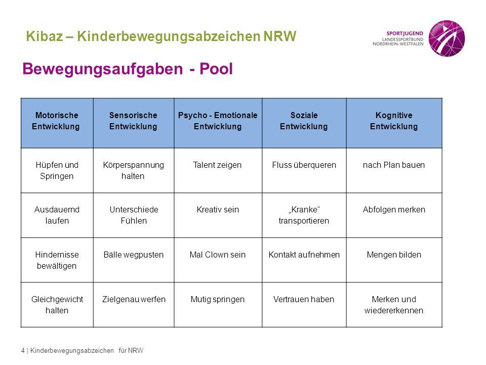 4 | Kinderbewegungsabzeichen für NRW Kibaz – Kinderbewegungsabzeichen NRW Bewegungsaufgaben - Pool Motorische Entwicklung Sensorische Entwicklung Psyc