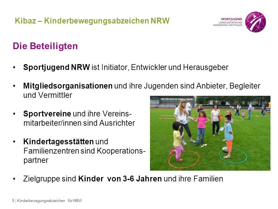 5 | Kinderbewegungsabzeichen für NRW Kibaz – Kinderbewegungsabzeichen NRW Die Beteiligten Sportjugend NRW ist Initiator, Entwickler und Herausgeber Mi