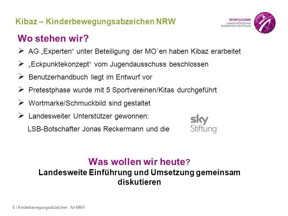 6 | Kinderbewegungsabzeichen für NRW Wo stehen wir? AG Experten unter Beteiligung der MO`en haben Kibaz erarbeitet Eckpunktekonzept vom Jugendausschus