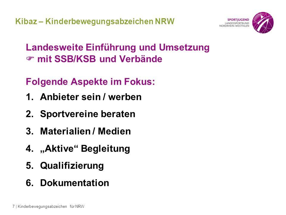 7 | Kinderbewegungsabzeichen für NRW Landesweite Einführung und Umsetzung mit SSB/KSB und Verbände Folgende Aspekte im Fokus: 1.Anbieter sein / werben