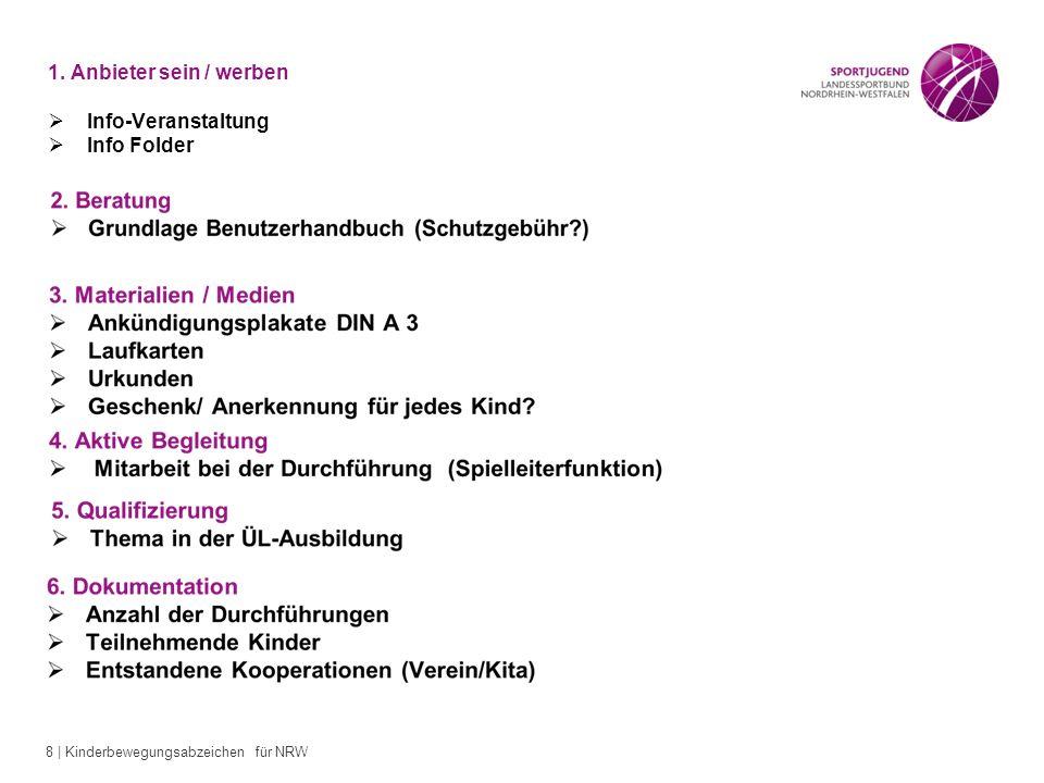 8 | Kinderbewegungsabzeichen für NRW 1. Anbieter sein / werben Info-Veranstaltung Info Folder