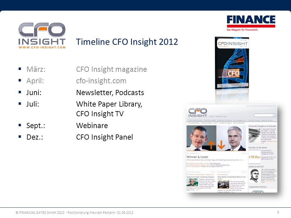 © FINANCIAL GATES GmbH 2012 - Positionierung Hewlett-Packard - 01.06.2012 5 März: CFO Insight magazine April: cfo-insight.com Juni: Newsletter, Podcas