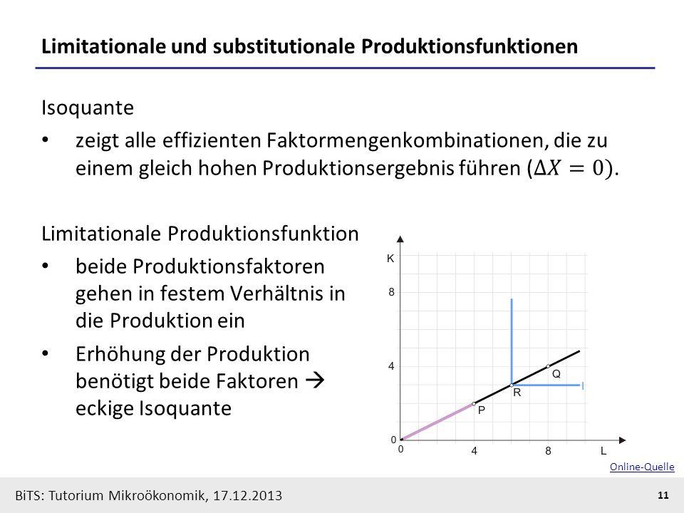 BiTS: Tutorium Mikroökonomik, 17.12.2013 11 Limitationale und substitutionale Produktionsfunktionen Online-Quelle
