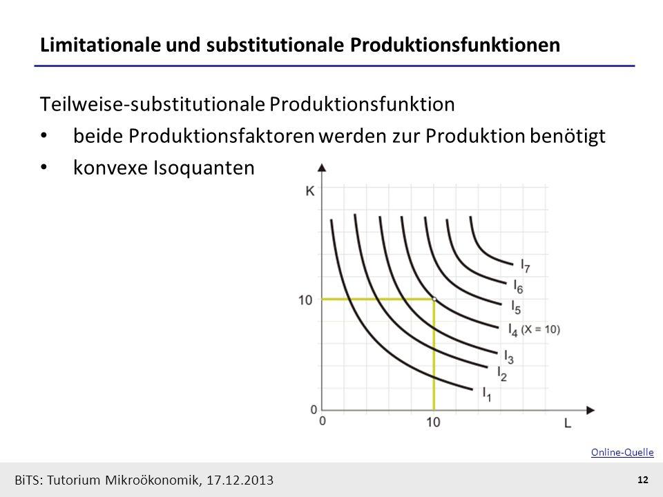 BiTS: Tutorium Mikroökonomik, 17.12.2013 12 Limitationale und substitutionale Produktionsfunktionen Teilweise-substitutionale Produktionsfunktion beid