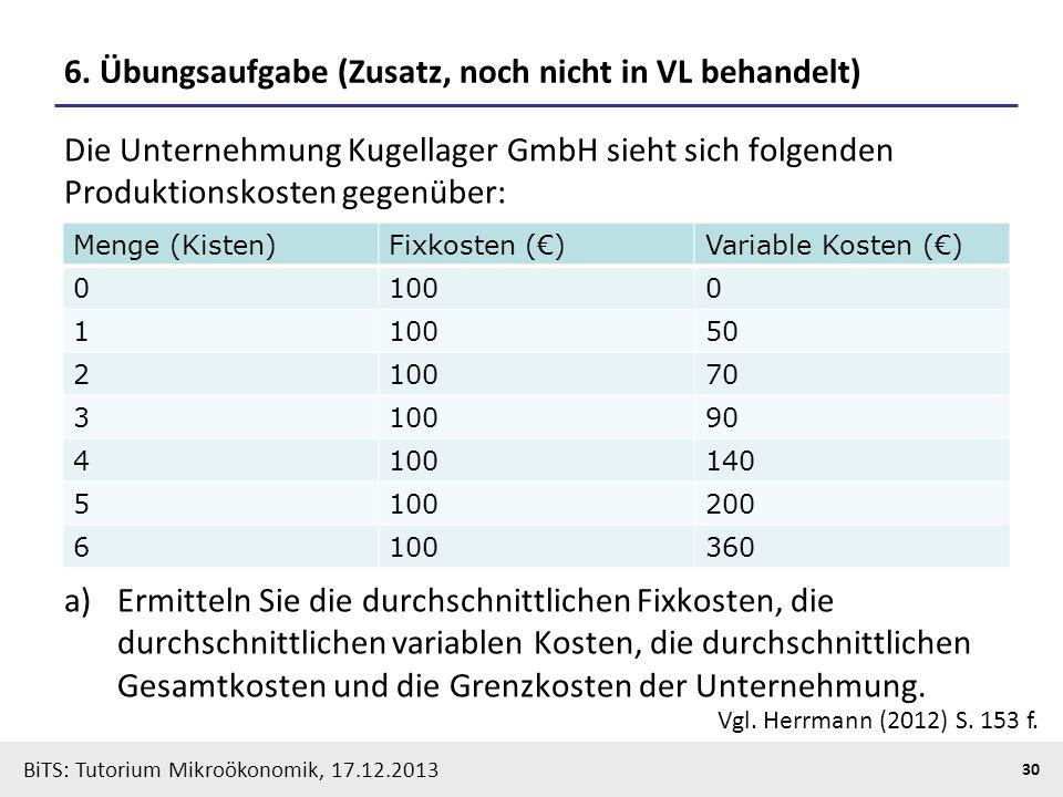 BiTS: Tutorium Mikroökonomik, 17.12.2013 30 6. Übungsaufgabe (Zusatz, noch nicht in VL behandelt) Die Unternehmung Kugellager GmbH sieht sich folgende