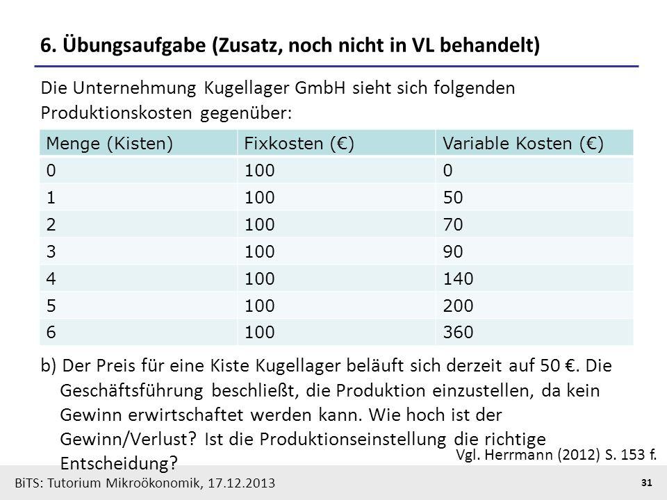BiTS: Tutorium Mikroökonomik, 17.12.2013 31 6. Übungsaufgabe (Zusatz, noch nicht in VL behandelt) Die Unternehmung Kugellager GmbH sieht sich folgende