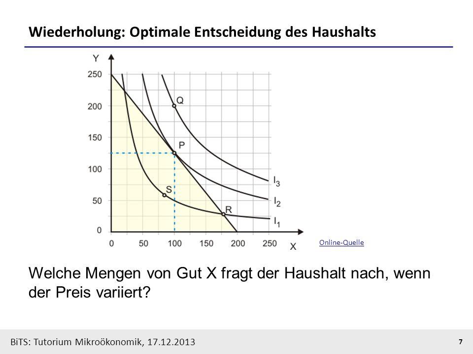 BiTS: Tutorium Mikroökonomik, 17.12.2013 8 Haushaltsoptimum und Nachfragefunktion Welche Mengen von Gut X fragt der Haushalt nach, wenn der Preis variiert (Drehung der Budgetgeraden).