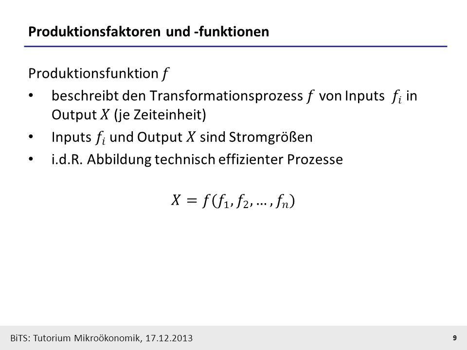 BiTS: Tutorium Mikroökonomik, 17.12.2013 9 Produktionsfaktoren und -funktionen
