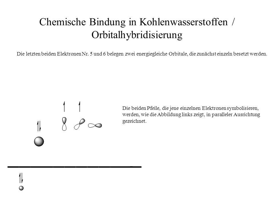 Chemische Bindung in Kohlenwasserstoffen / Orbitalhybridisierung Die letzten beiden Elektronen Nr. 5 und 6 belegen zwei energiegleiche Orbitale, die z