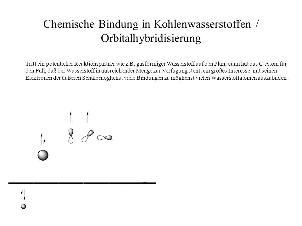 Chemische Bindung in Kohlenwasserstoffen / Orbitalhybridisierung Tritt ein potentieller Reaktionspartner wie z.B. gasförmiger Wasserstoff auf den Plan