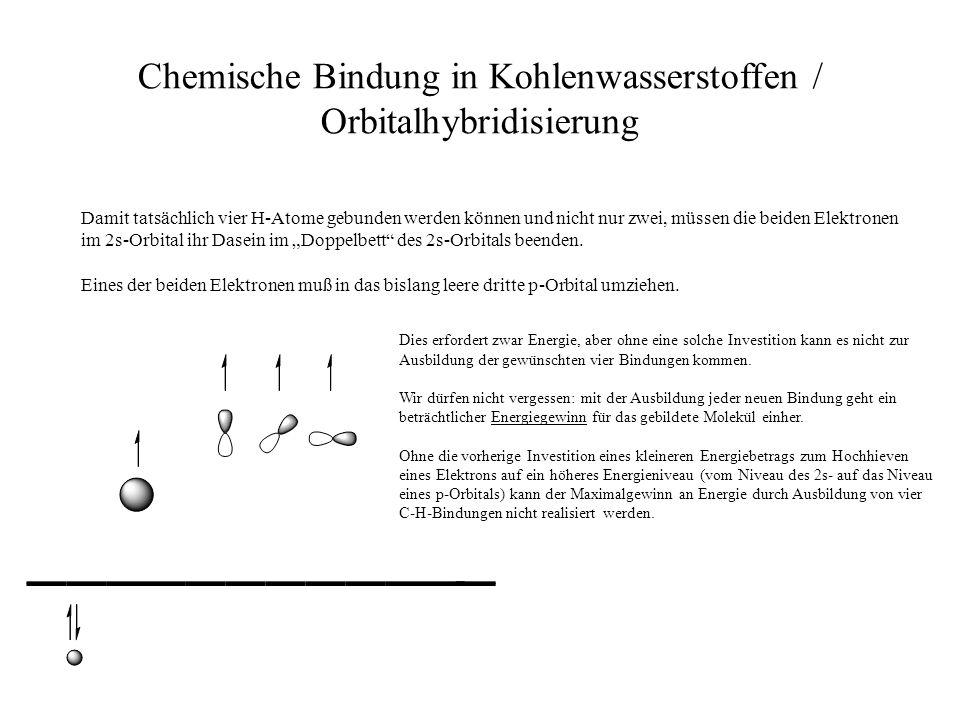 Chemische Bindung in Kohlenwasserstoffen / Orbitalhybridisierung Damit tatsächlich vier H-Atome gebunden werden können und nicht nur zwei, müssen die