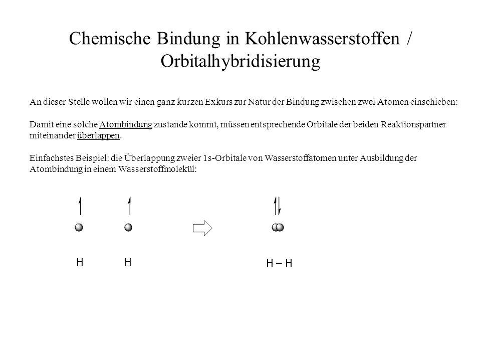 Chemische Bindung in Kohlenwasserstoffen / Orbitalhybridisierung HH H – H An dieser Stelle wollen wir einen ganz kurzen Exkurs zur Natur der Bindung z