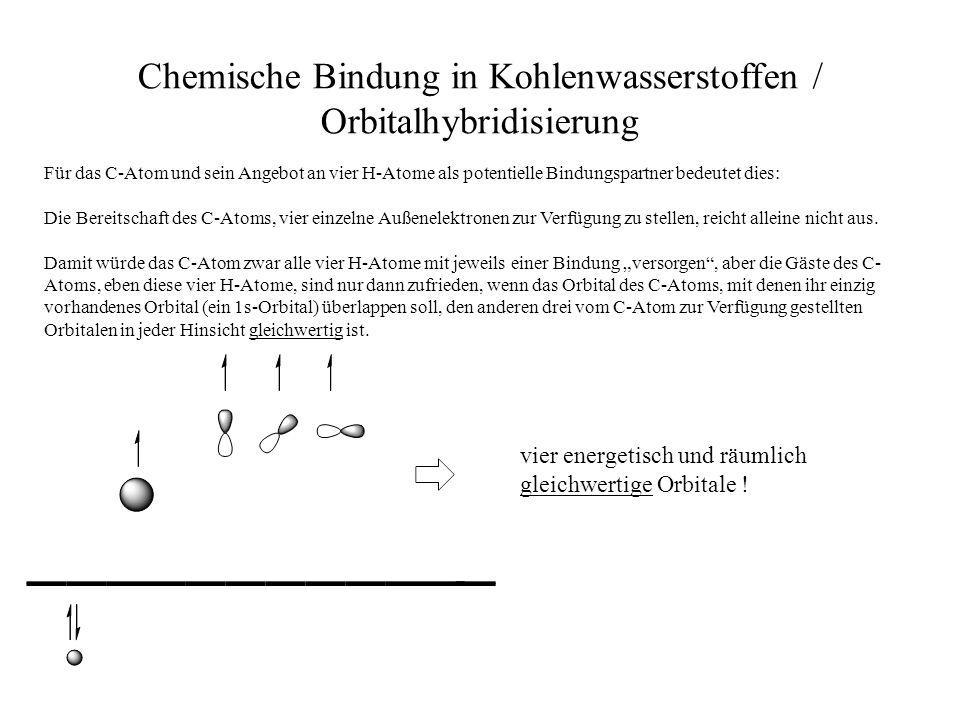 Chemische Bindung in Kohlenwasserstoffen / Orbitalhybridisierung Für das C-Atom und sein Angebot an vier H-Atome als potentielle Bindungspartner bedeu