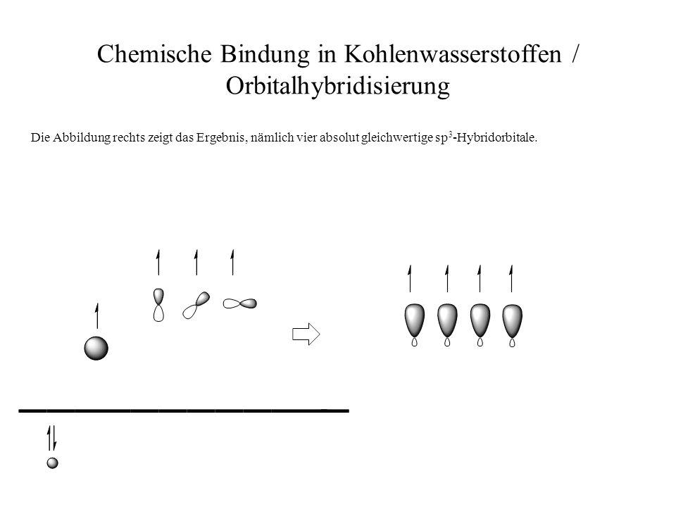 Chemische Bindung in Kohlenwasserstoffen / Orbitalhybridisierung Die Abbildung rechts zeigt das Ergebnis, nämlich vier absolut gleichwertige sp 3 -Hyb