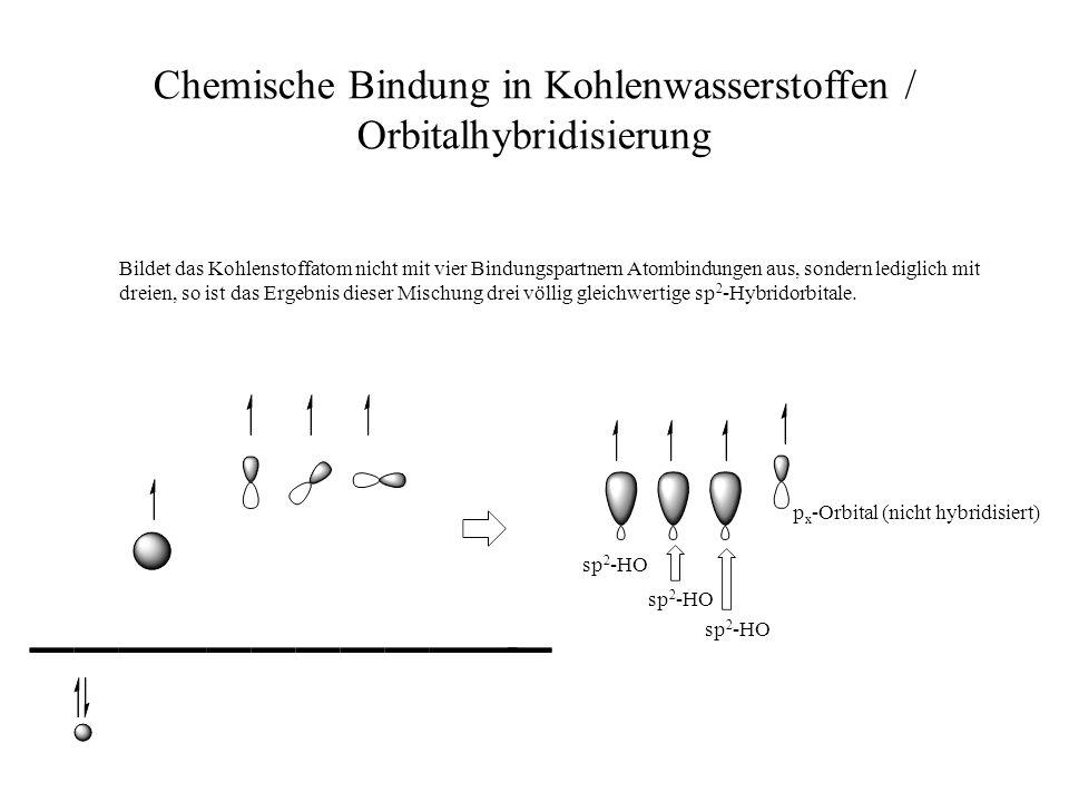 Chemische Bindung in Kohlenwasserstoffen / Orbitalhybridisierung Bildet das Kohlenstoffatom nicht mit vier Bindungspartnern Atombindungen aus, sondern