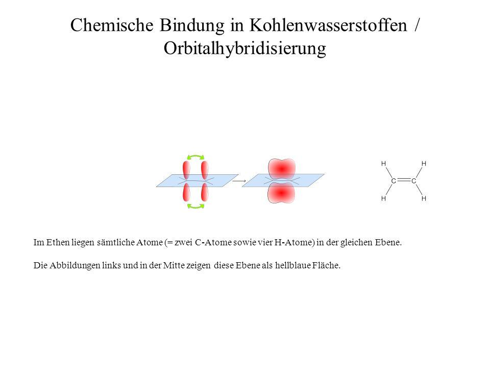 Chemische Bindung in Kohlenwasserstoffen / Orbitalhybridisierung Die Abbildung rechts zeigt das Ergebnis, nämlich vier absolut gleichwertige sp 3 -Hybridorbitale.