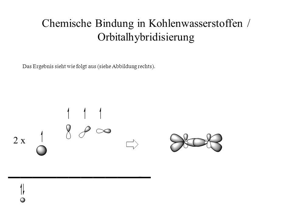 Chemische Bindung in Kohlenwasserstoffen / Orbitalhybridisierung Das Ergebnis sieht wie folgt aus (siehe Abbildung rechts). 2 x