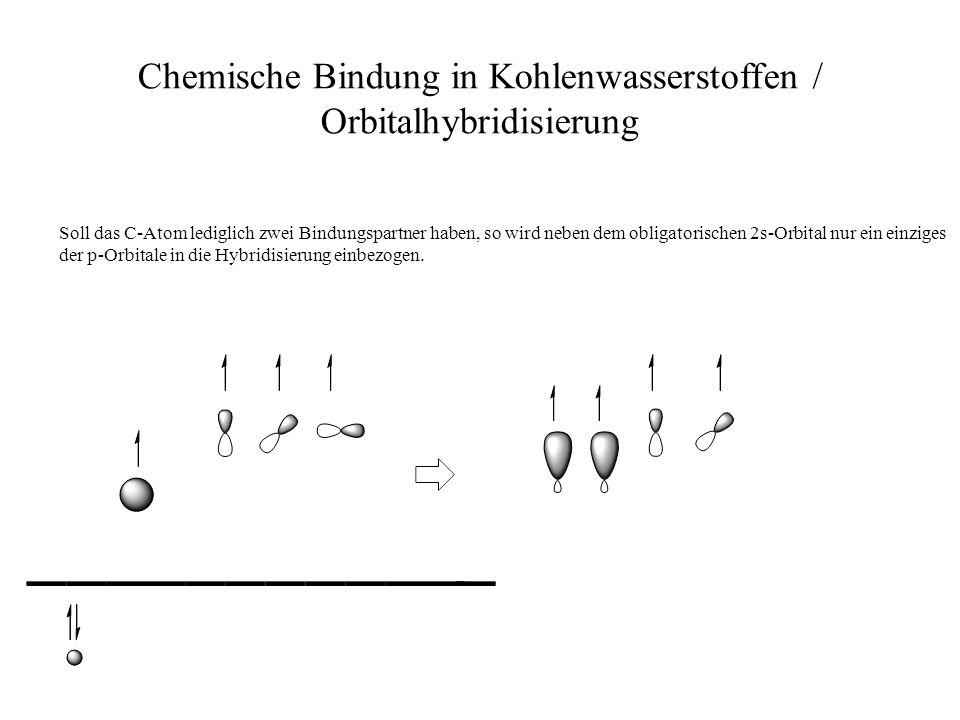 Chemische Bindung in Kohlenwasserstoffen / Orbitalhybridisierung Soll das C-Atom lediglich zwei Bindungspartner haben, so wird neben dem obligatorisch