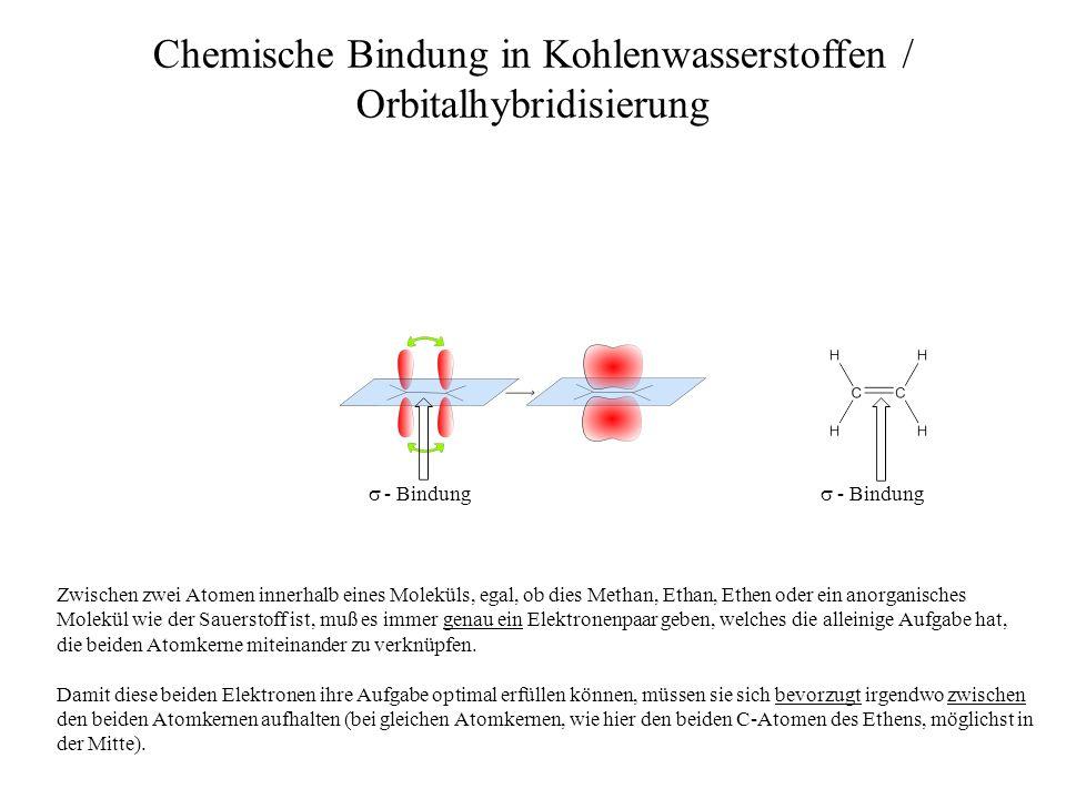 - Bindung Chemische Bindung in Kohlenwasserstoffen / Orbitalhybridisierung - Bindung Diese beiden Elektronen, die sich bevorzugt in der Zone zwischen den Atomkernen aufhalten, bilden eine sogenannte σ - Bindung zwischen den beiden Kernen aus.