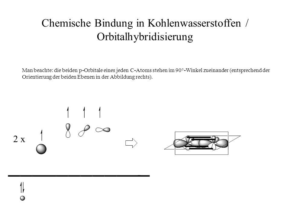 Chemische Bindung in Kohlenwasserstoffen / Orbitalhybridisierung Man beachte: die beiden p-Orbitale eines jeden C-Atoms stehen im 90°-Winkel zueinande