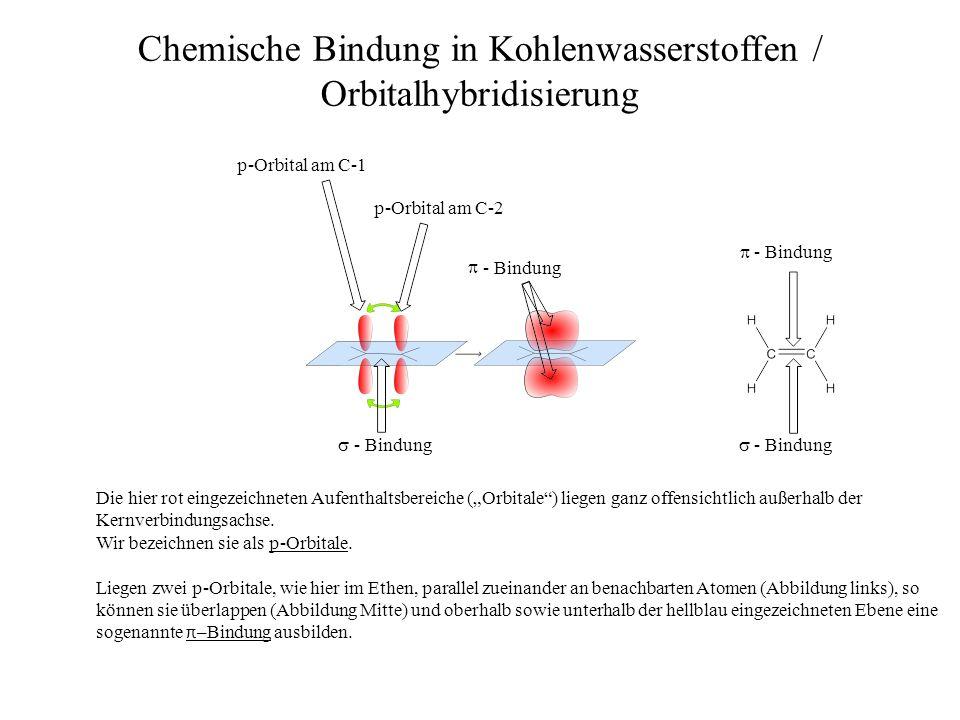 Bindungslänge der C=C-Doppelbindung 134 pm Chemische Bindung in Kohlenwasserstoffen / Orbitalhybridisierung - Bindung - Bindung Der Abstand der Kerne der beiden C-Atome beträgt in einer C=C-Doppelbindung 1,34 x 10 -10 m (= 134 pm).