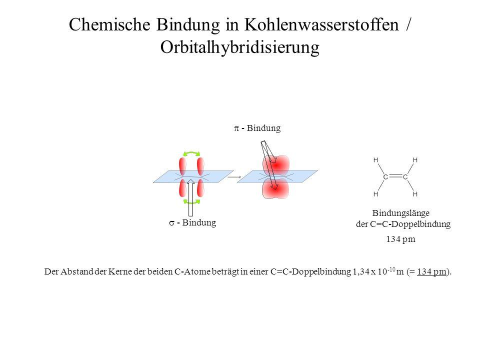 Chemische Bindung in Kohlenwasserstoffen / Orbitalhybridisierung Bildet das Kohlenstoffatom nicht mit vier Bindungspartnern Atombindungen aus, sondern lediglich mit dreien, so ist das Ergebnis dieser Mischung drei völlig gleichwertige sp 2 -Hybridorbitale.