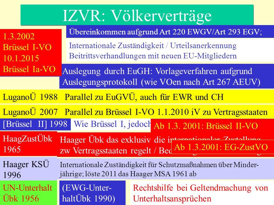 Urteilsvollstreckung §§ 722 ff ZPO § 110 FamFG Art 38 ff Brüssel I- VO Art 21 ff Brüssel IIa-VO (elt Verantwortung) - Vollstreckbarerklärung - auf Antrag -- inzidente Anerkennungsprüfung - Vollstreckbarkeit im Ursprungsstaat -- ggf Aussetzung, wenn im Ursprungsstaat Rechtsbehelf läuft - vorher Zustellung der Entscheidung - Rechtsbehelfe nach Katalog im Anhang zur jeweiligen VO - Vollstreckungsurteil - auf Antrag - inzidente Anerkennungsprüfung - Rechtskraft und Vollstreckbarkeit im Ursprungsstaat - Einwendungen nicht nach § 767 Abs 2 ZPO, sd §§ 722, 723 ZPO
