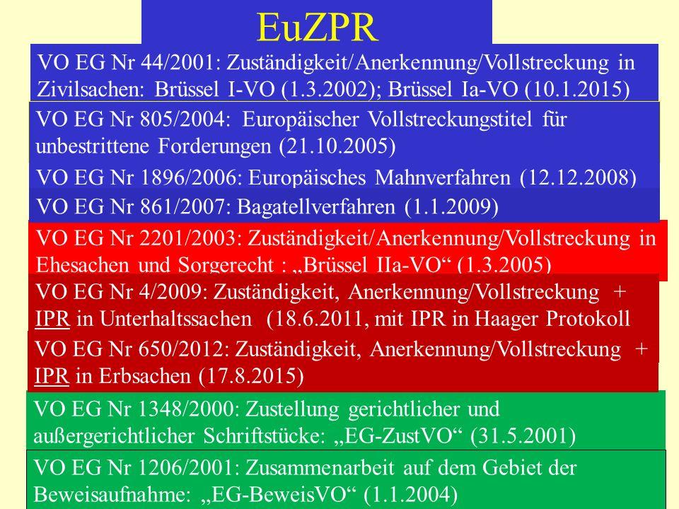 EuZPR VO EG Nr 44/2001: Zuständigkeit/Anerkennung/Vollstreckung in Zivilsachen: Brüssel I-VO (1.3.2002); Brüssel Ia-VO (10.1.2015) VO EG Nr 2201/2003: Zuständigkeit/Anerkennung/Vollstreckung in Ehesachen und Sorgerecht : Brüssel IIa-VO (1.3.2005) VO EG Nr 1348/2000: Zustellung gerichtlicher und außergerichtlicher Schriftstücke: EG-ZustVO (31.5.2001) VO EG Nr 1206/2001: Zusammenarbeit auf dem Gebiet der Beweisaufnahme: EG-BeweisVO (1.1.2004) VO EG Nr 805/2004: Europäischer Vollstreckungstitel für unbestrittene Forderungen (21.10.2005) VO EG Nr 1896/2006: Europäisches Mahnverfahren (12.12.2008) VO EG Nr 4/2009: Zuständigkeit, Anerkennung/Vollstreckung + IPR in Unterhaltssachen (18.6.2011, mit IPR in Haager Protokoll in Kr) VO EG Nr 861/2007: Bagatellverfahren (1.1.2009) VO EG Nr 650/2012: Zuständigkeit, Anerkennung/Vollstreckung + IPR in Erbsachen (17.8.2015)