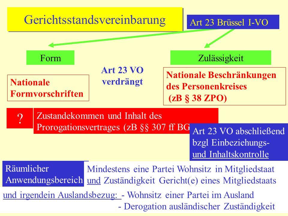 Gerichtsstandsvereinbarung FormZulässigkeit Art 23 VO verdrängt Nationale Formvorschriften Nationale Beschränkungen des Personenkreises (zB § 38 ZPO) .