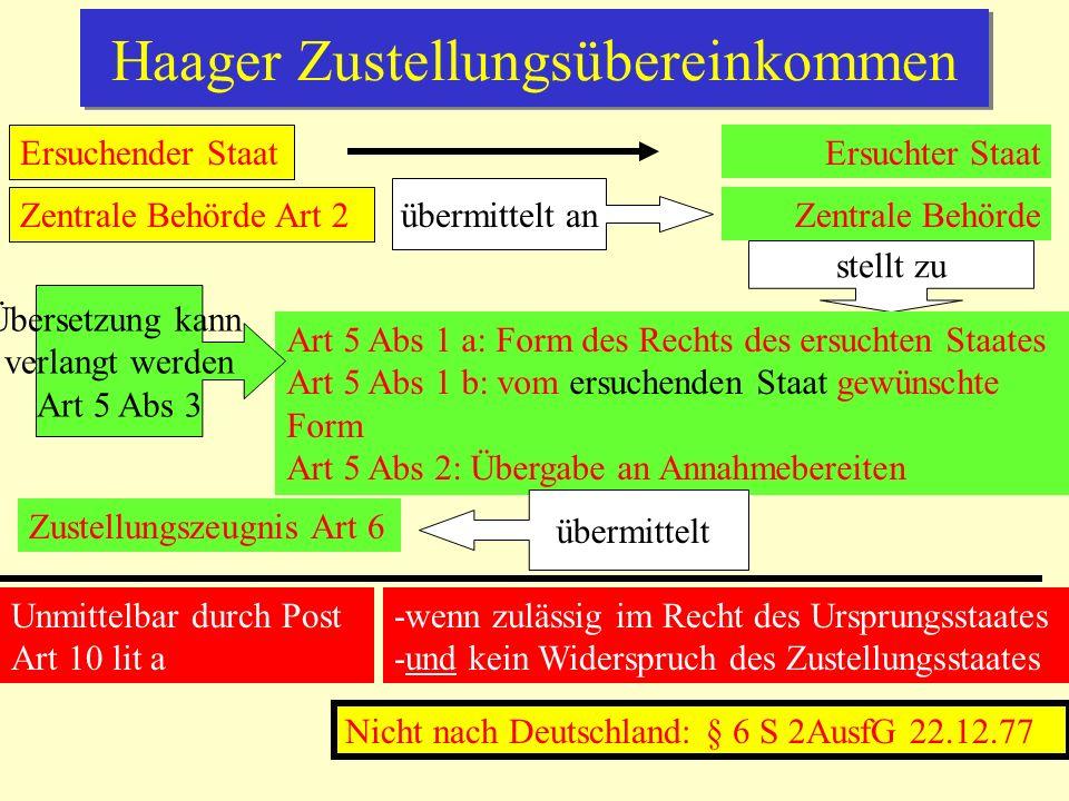 Brüssel II/IIa-VO Sachlicher Anwendungsbereich Art 1 a) Zivilverfahren (Gericht oder Behörde) zur Ehescheidung, Trennung, Auflö- sung, Ungültigerklärung der Ehe elterliche Verantwortung (zB Sorge und Umgang) in Br IIa umfassend Art 1 b) Inkrafttreten Brüssel IIa 1.3.2001 1.3.2005 Unmittelbare Geltung in EU außer Dänemark Räumlich-persönlicher Anwendungsbereich …in Ehesachen Ausschließlich, wenn Antrags- gegner in einem Mitgliedstaat - gewöhnlichen Aufenthalt oder - Staatsangehörigkeit/domicile hat Art 6 Art 7 Wenn keine Zust.