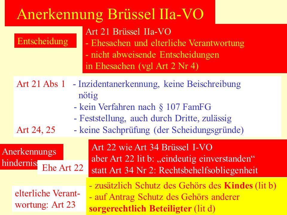 Anerkennung Brüssel IIa-VO Entscheidung Art 21 Brüssel IIa-VO - Ehesachen und elterliche Verantwortung - nicht abweisende Entscheidungen in Ehesachen (vgl Art 2 Nr 4) Art 21 Abs 1 - Inzidentanerkennung, keine Beischreibung nötig - kein Verfahren nach § 107 FamFG - Feststellung, auch durch Dritte, zulässig Art 24, 25- keine Sachprüfung (der Scheidungsgründe) Anerkennungs hindernisse Art 22 wie Art 34 Brüssel I-VO aber Art 22 lit b: eindeutig einverstanden statt Art 34 Nr 2: Rechtsbehelfsobliegenheit Ehe Art 22 elterliche Verant- wortung: Art 23 - zusätzlich Schutz des Gehörs des Kindes (lit b) - auf Antrag Schutz des Gehörs anderer sorgerechtlich Beteiligter (lit d)