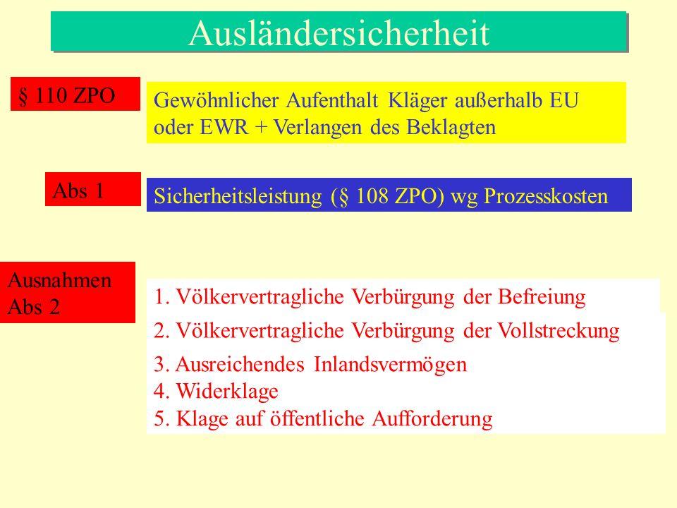 Ausländersicherheit § 110 ZPO Gewöhnlicher Aufenthalt Kläger außerhalb EU oder EWR + Verlangen des Beklagten Sicherheitsleistung (§ 108 ZPO) wg Prozesskosten Abs 1 Ausnahmen Abs 2 1.